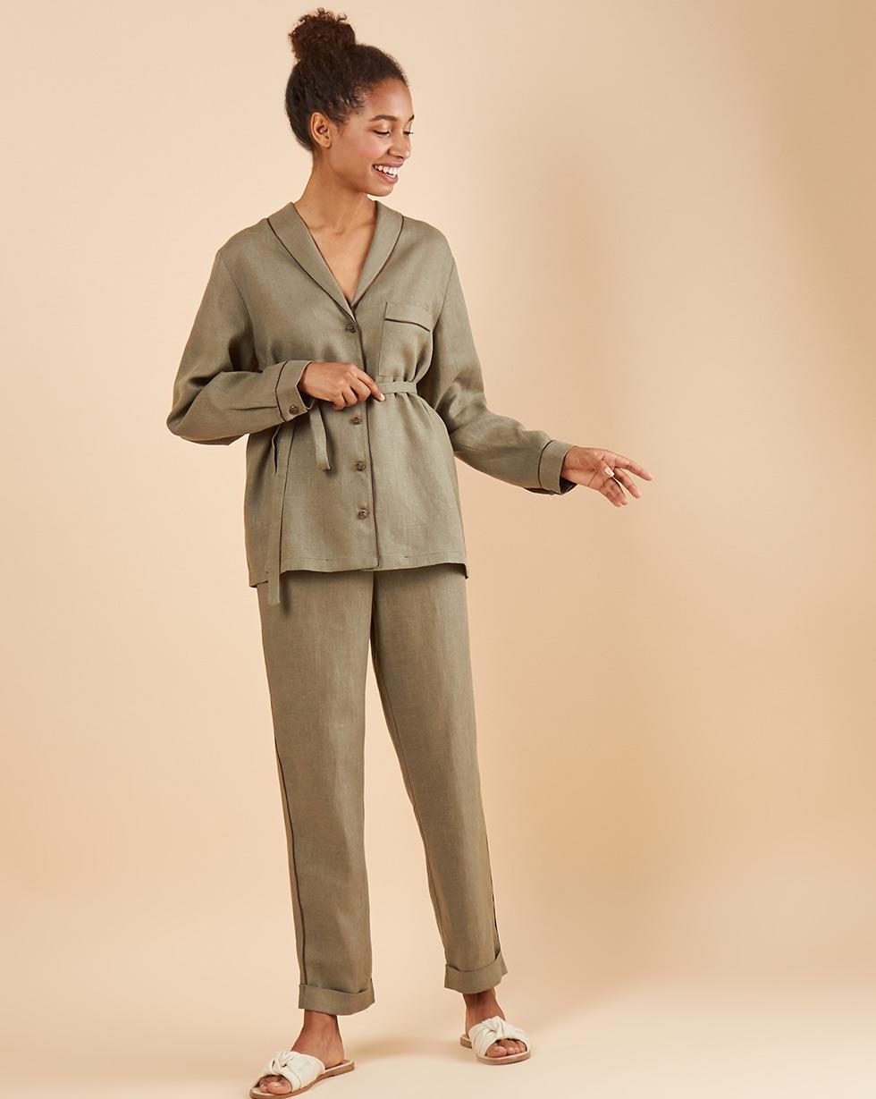 12Storeez Комплект: Рубашка с брюками изо льна (зеленый) 12storeez комплект рубашка с брюками изо льна черный