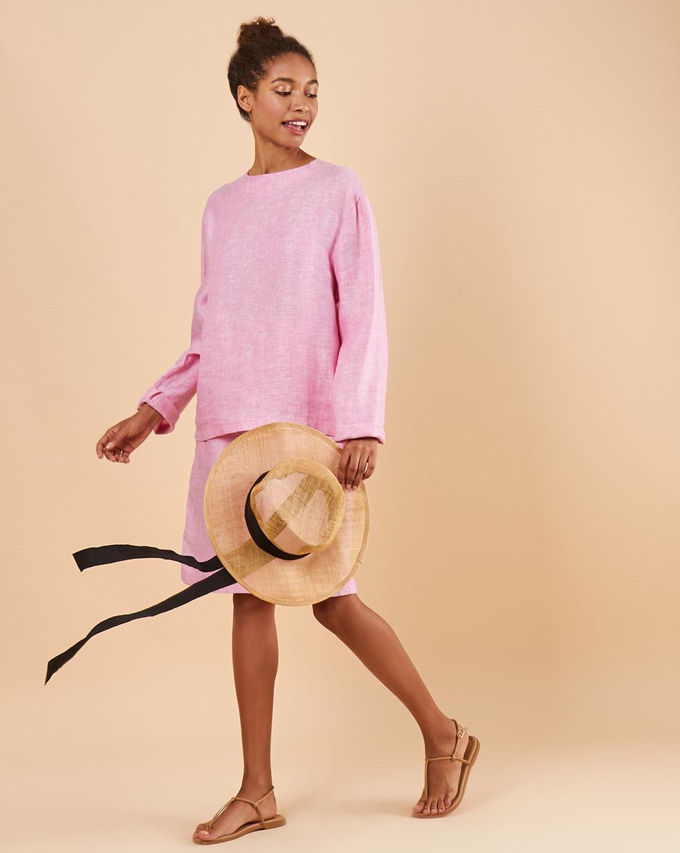 12Storeez Костюм: Топ с длинными рукавами и удлиненные шорты изо льна (розовый) сорочка с длинными рукавами aygey