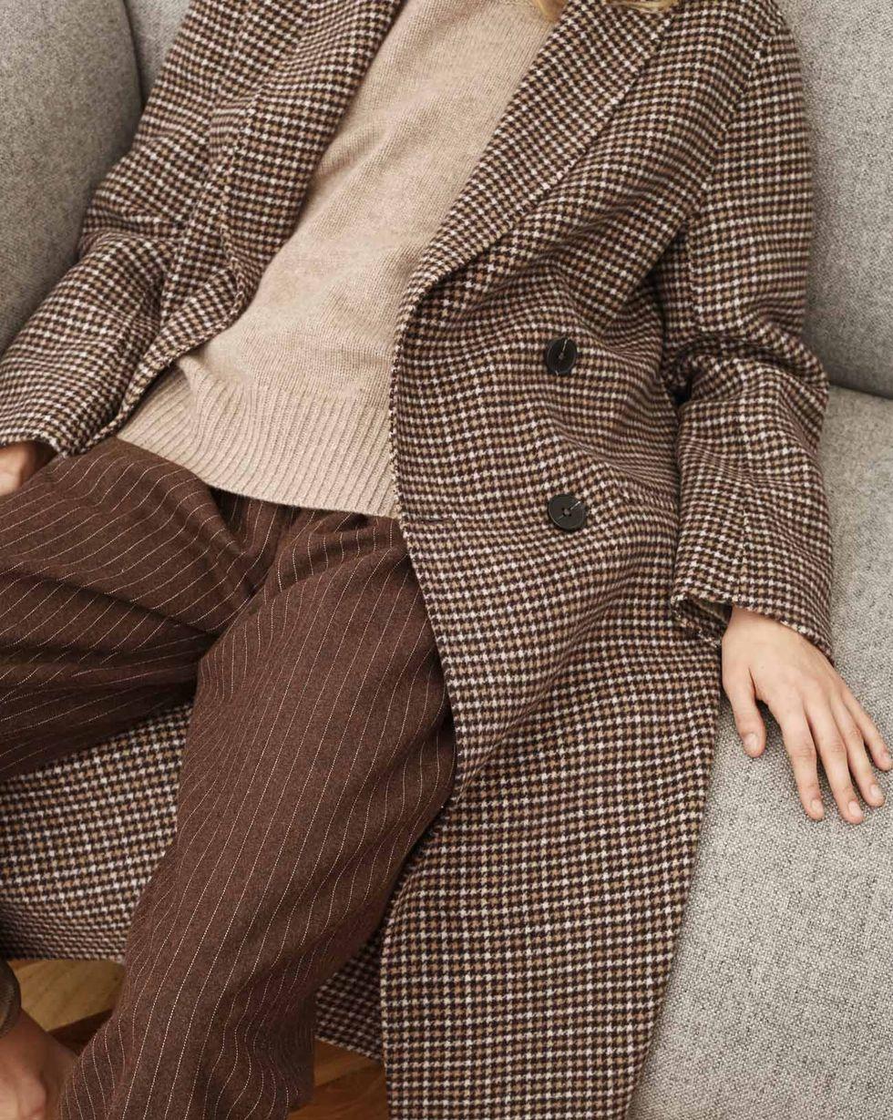 12Storeez Пальто двубортное с фигурным воротником (гусиная лапка коричневый)