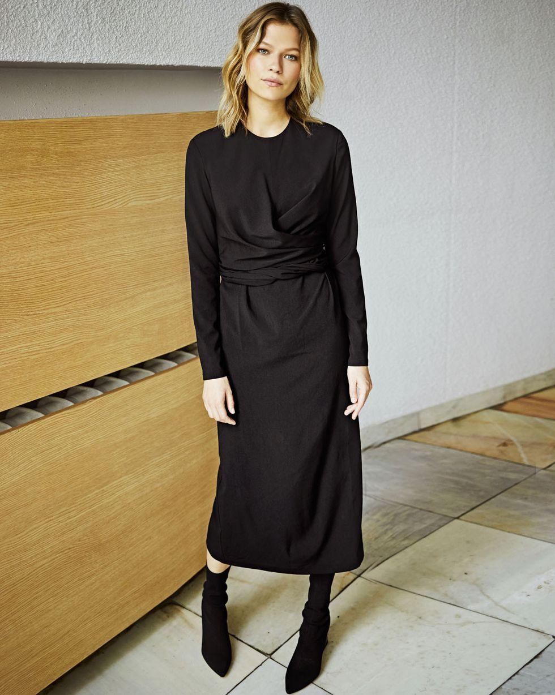 Платье миди с завязками на талии LПлатья<br><br><br>Артикул: 82910563<br>Размер: L<br>Цвет: Черный<br>Новинка: ДА<br>Наименование en: Tie waist midi dress