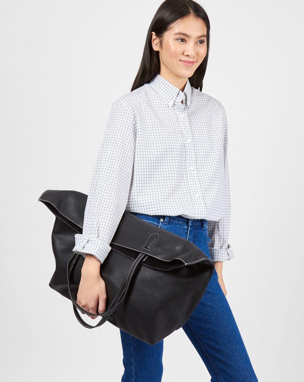 12Storeez Сумка-шопер из кожи большая (черная) 12storeez блуза с бантом в горох черная