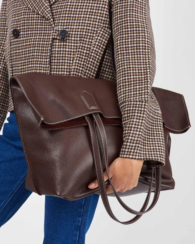 12Storeez Сумка-шопер из кожи (коричневая) 12storeez сумка из меха норки темно коричневая