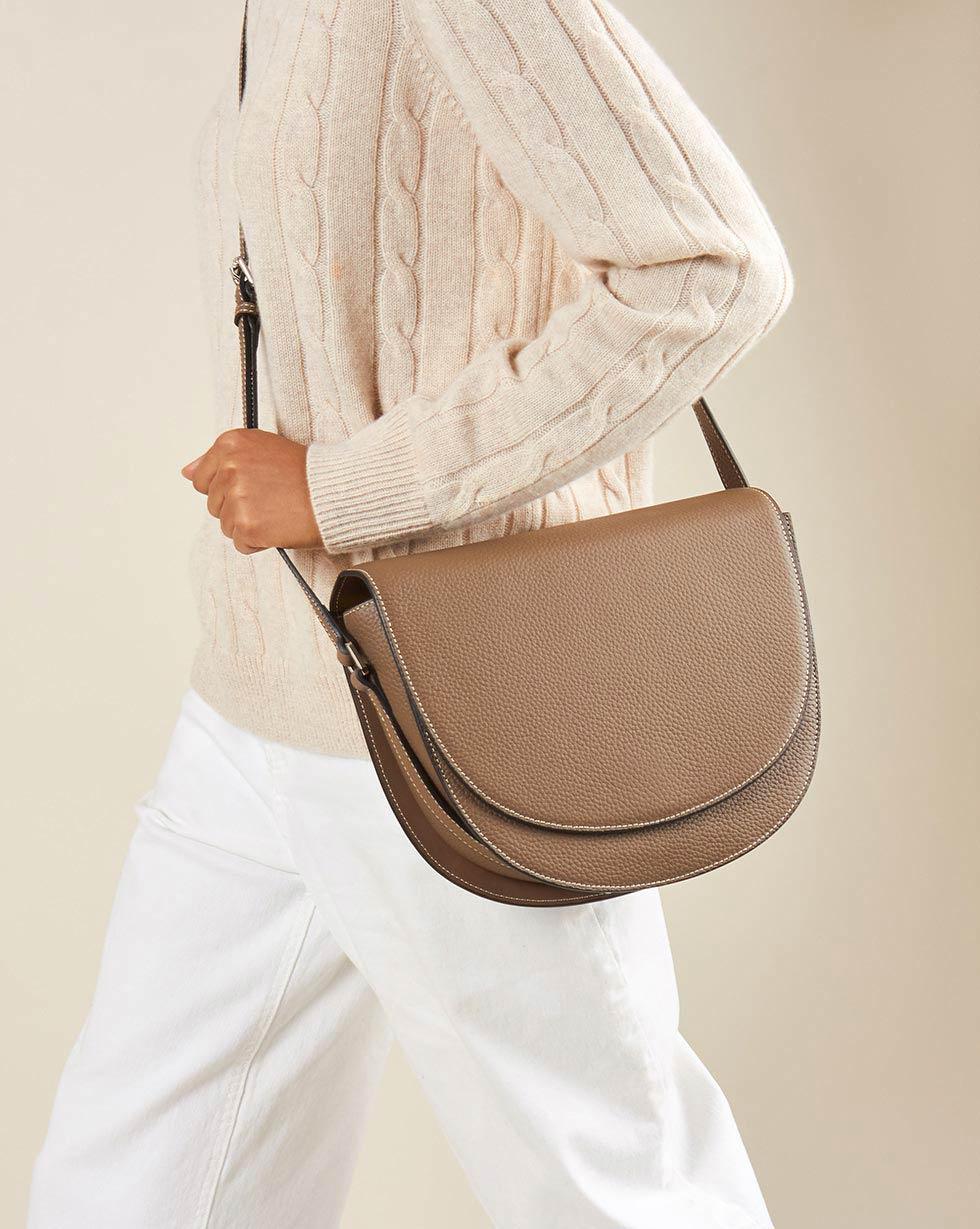 12Storeez Сумка кожаная с длинным плечевым ремнем (серо-бежевый) askent askent сумка с ремнем 168133
