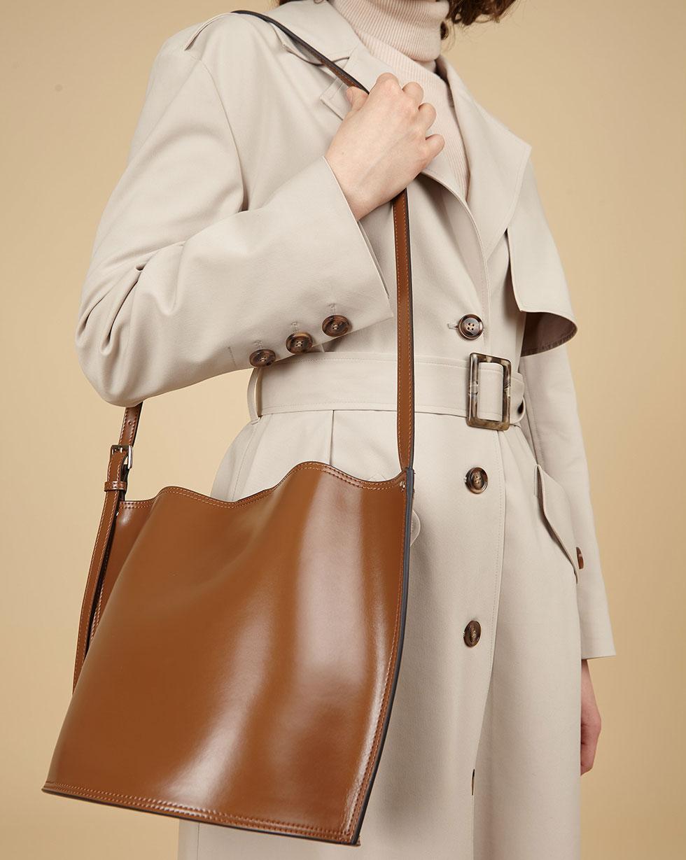 12Storeez Сумка кожаная с выделкой наппа (коричневый) SS19 сумка кожаная