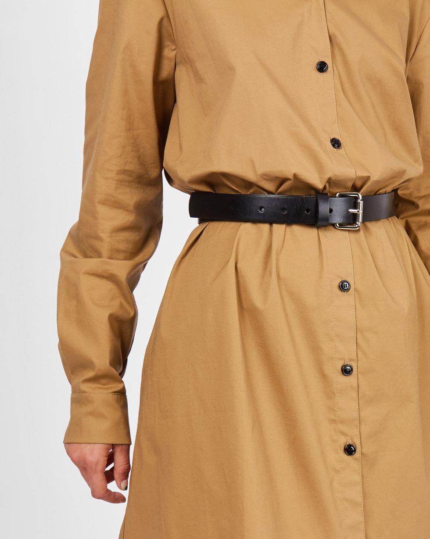 Ремень из гладкой кожи с квадратной пряжкой MАксессуары<br><br><br>Артикул: 1094510954<br>Размер: M<br>Цвет: Черный<br>Новинка: ДА<br>Наименование en: Smooth leather belt