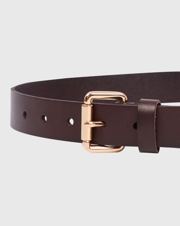 Ремень из гладкой кожи с квадратной пряжкой LАксессуары<br><br><br>Артикул: 1094510956<br>Размер: L<br>Цвет: Темно-коричневый<br>Новинка: НЕТ<br>Наименование en: Smooth leather belt