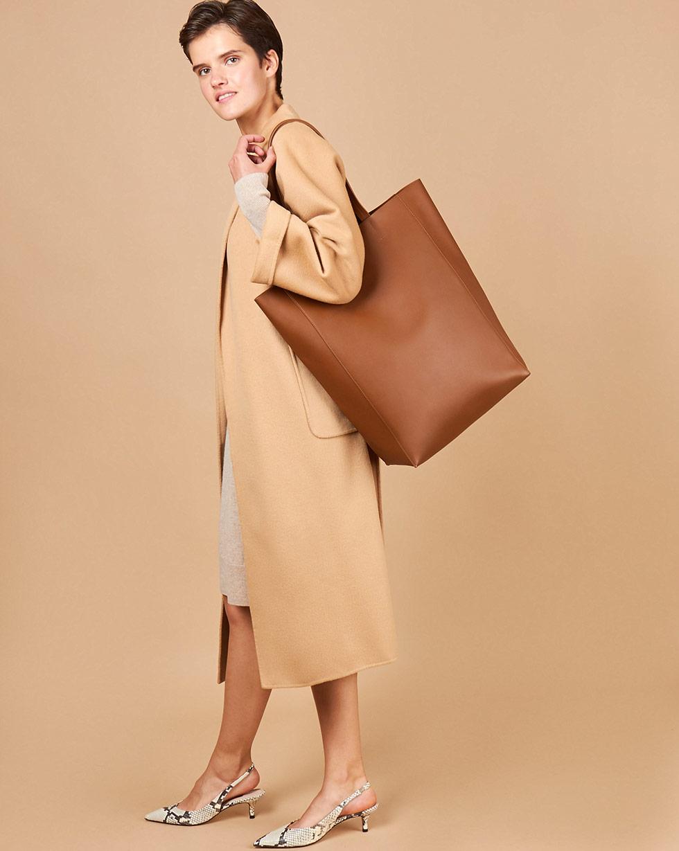 12Storeez Сумка-шопер из гладкой кожи большая (рыже-коричневая) 12storeez сумка из меха норки темно коричневая