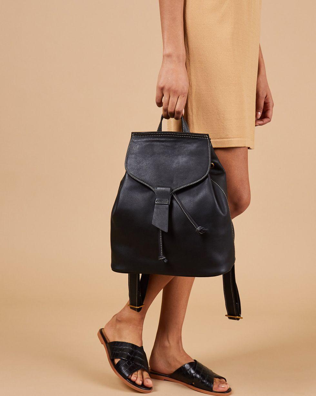 12Storeez Сумка-рюкзак из кожи большая (черная)