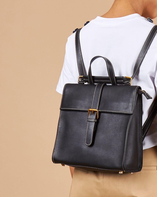 12Storeez Сумка-рюкзак из кожи маленькая (черная)