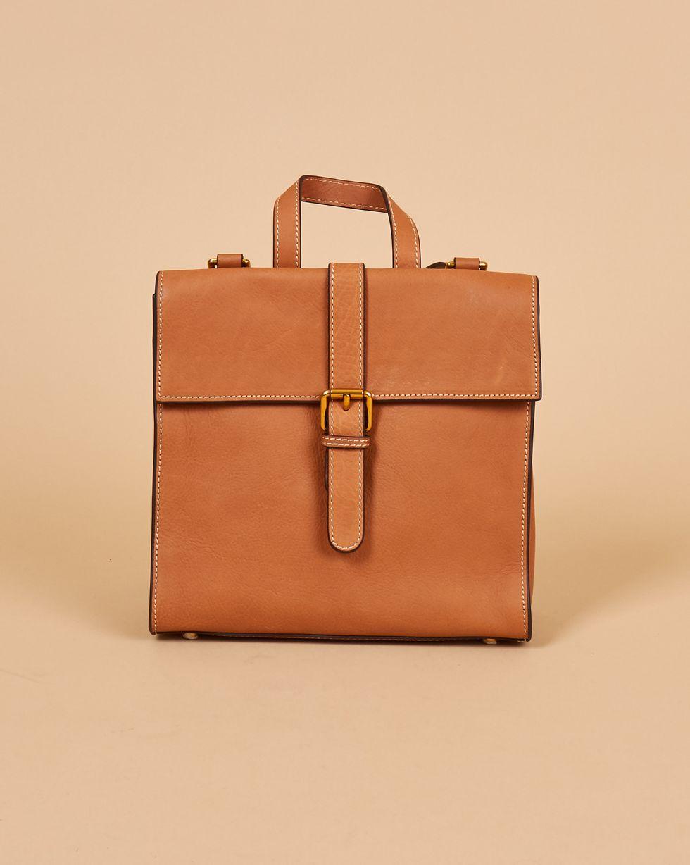 12Storeez Сумка-рюкзак из кожи маленькая (рыжая)