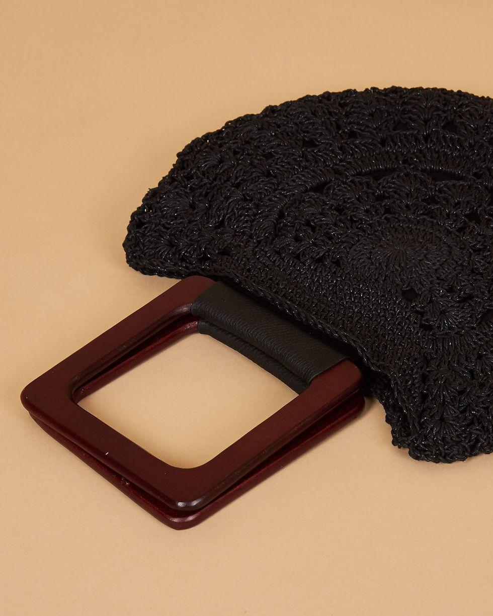 12Storeez Сумка плетеная с деревянными ручками (черная)