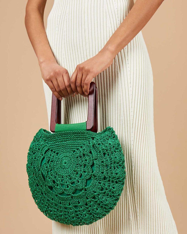 12Storeez Сумка плетеная с деревянными ручками (зеленая)