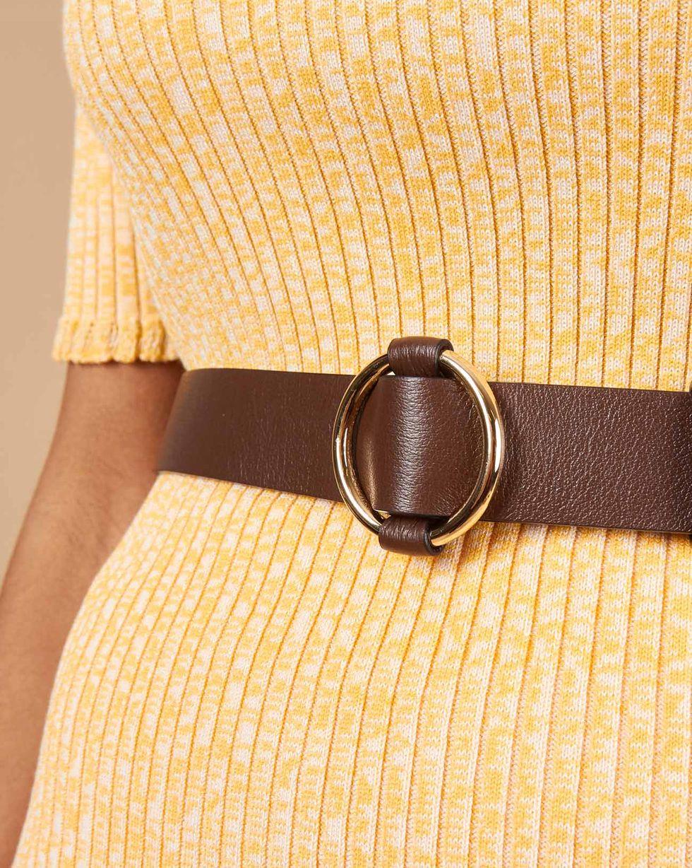 12Storeez Ремень из кожи с круглой пряжкой (коричневый) 12storeez ремень из фактурной кожи с прямоугольной пряжкой серо коричневый ss19