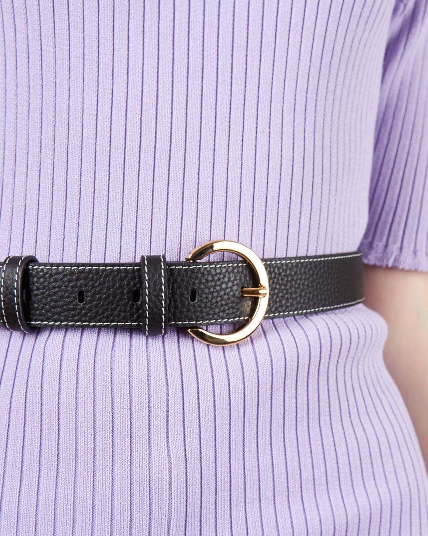 Ремень из кожи с отстрочкой LАксессуары<br><br><br>Артикул: 80012986<br>Размер: L<br>Цвет: Черный<br>Новинка: НЕТ<br>Наименование en: Contrast stitch leather belt
