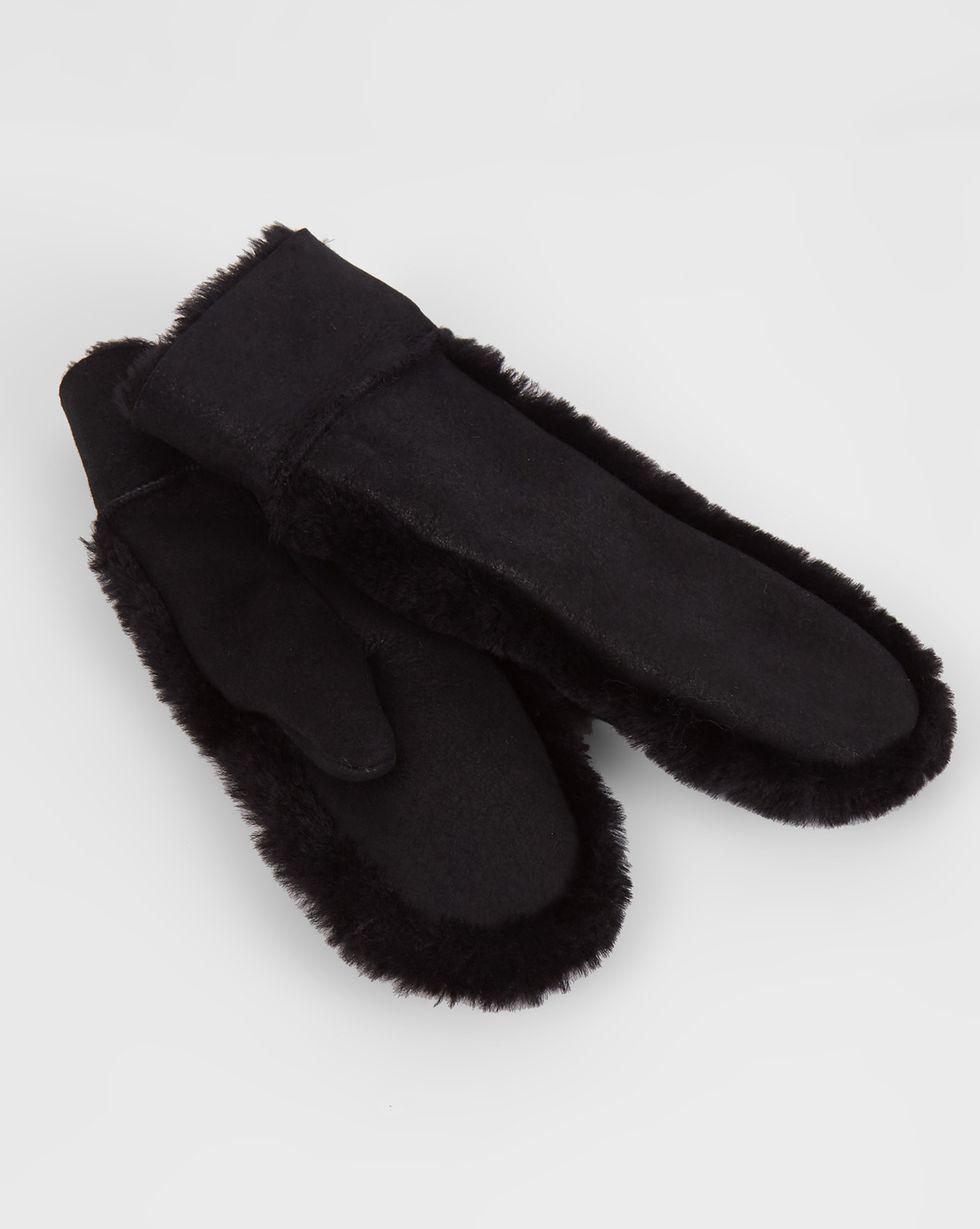 12Storeez Варежки с меховой опушкой и покрытием (черный) 12storeez дубленка с покрытием черный