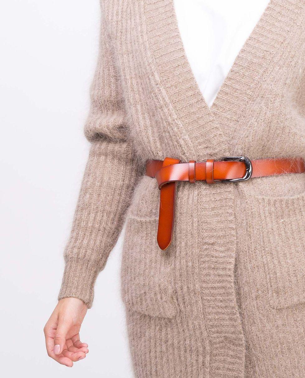 Ремень из гладкой кожи One sizeАксессуары<br><br><br>Артикул: 8004455<br>Размер: One size<br>Цвет: Рыже-коричневый<br>Новинка: НЕТ<br>Наименование en: Smooth leather belt