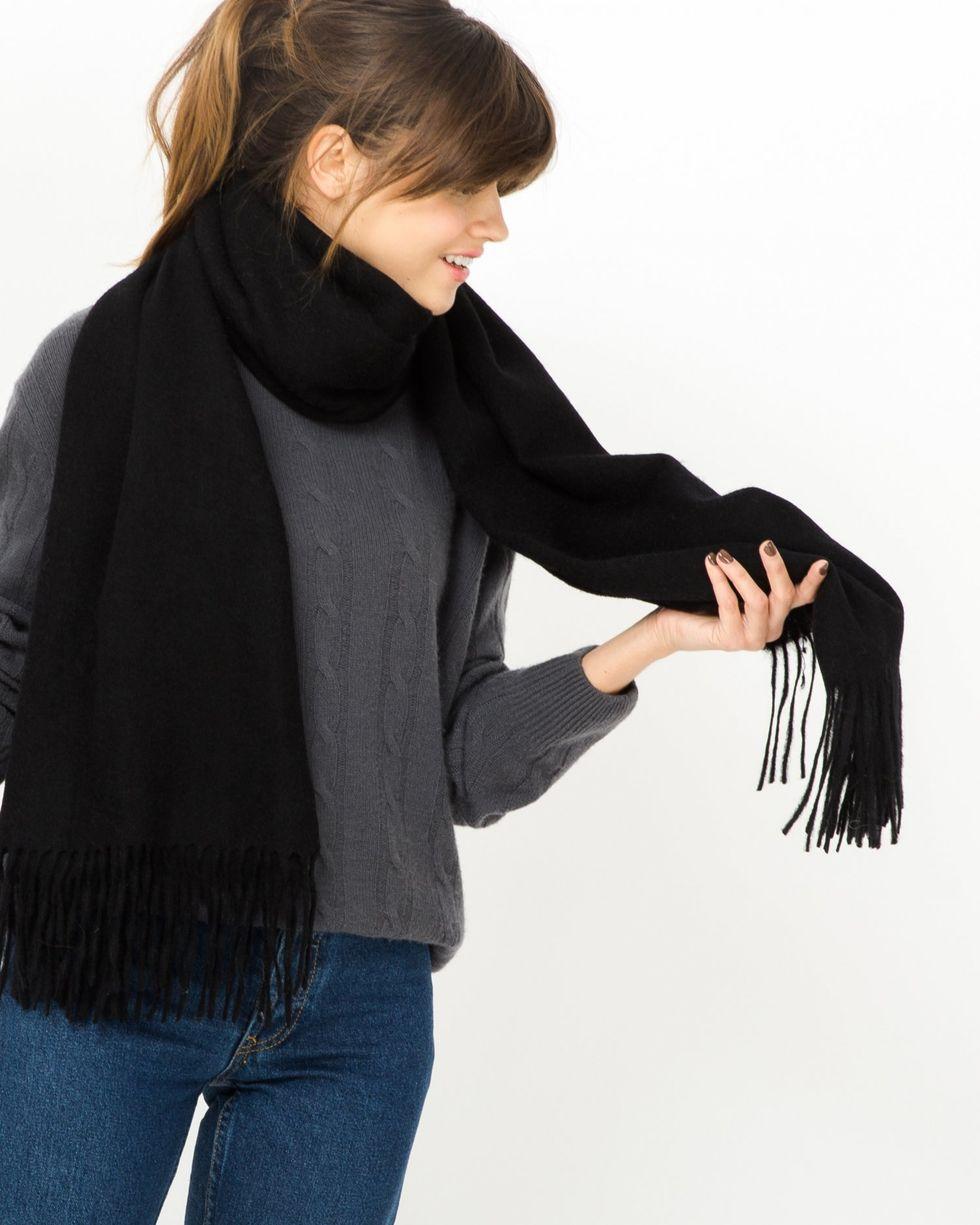 12Storeez Шарф из кашемира, шелка и шерсти (черный) valentino платье из шерсти и шелка