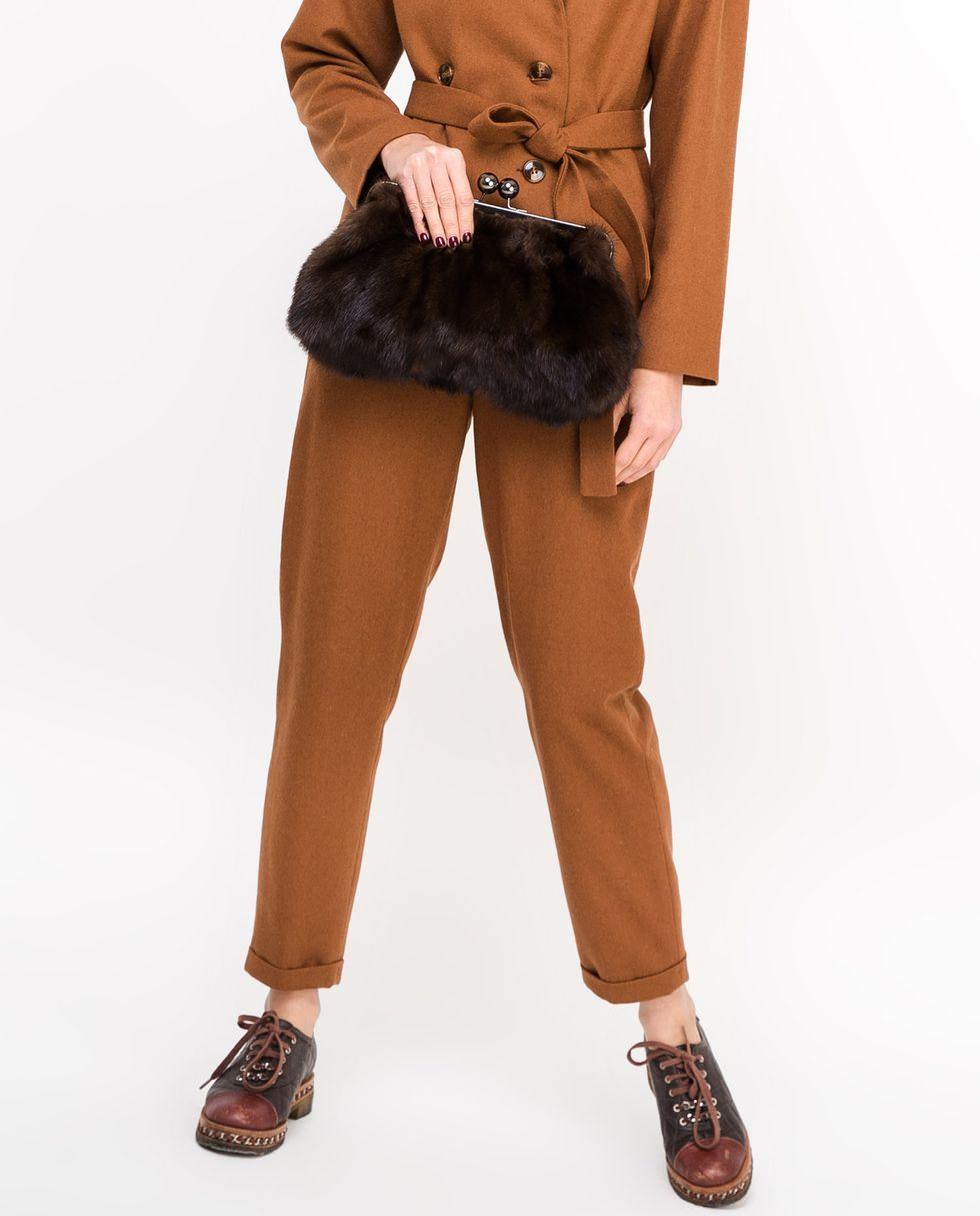 12Storeez Сумка из меха норки (темно-коричневая) шуба из меха норки с отделкой натуральной замшей