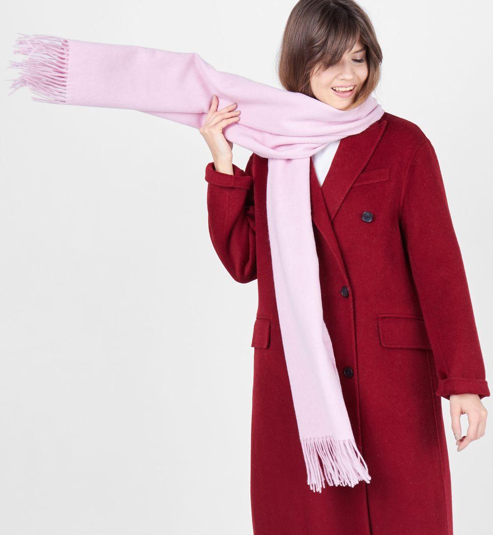 12Storeez Шарф из кашемира, шелка и шерсти (розовый) розовый шарф с принтом