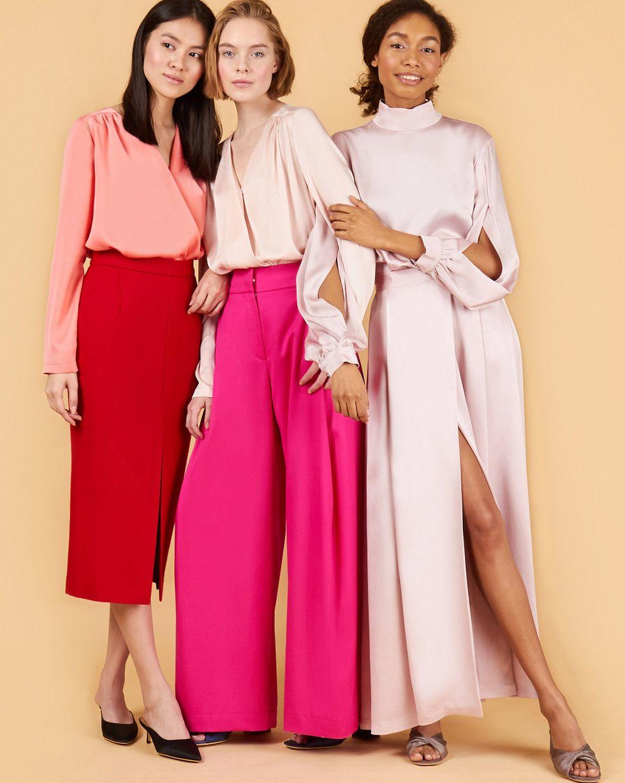 12Storeez Комплект: Блуза с разрезами и юбка макси (розовый)