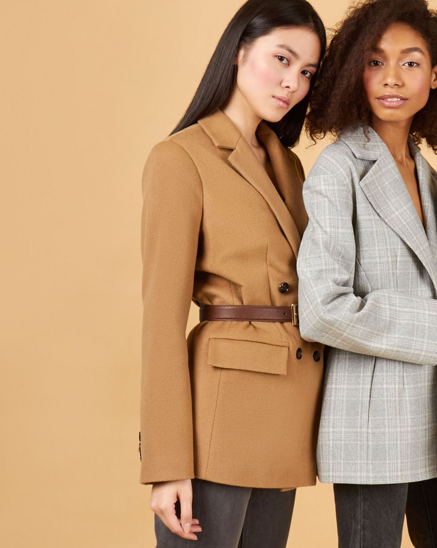 12Storeez Пиджак двубортный из плотной шерсти (кемл) 12storeez пиджак двубортный из плотной шерсти горчичный