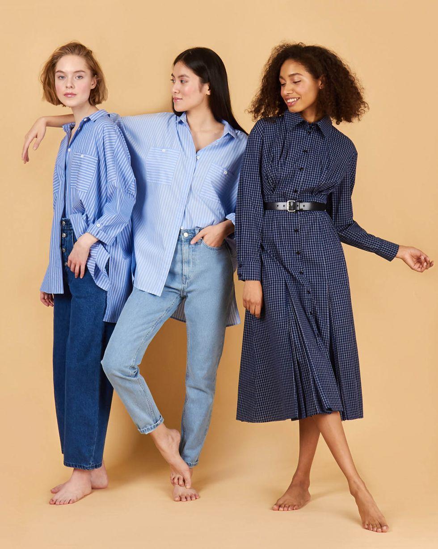 12Storeez Рубашка с карманами в полоску двойную (голубой)