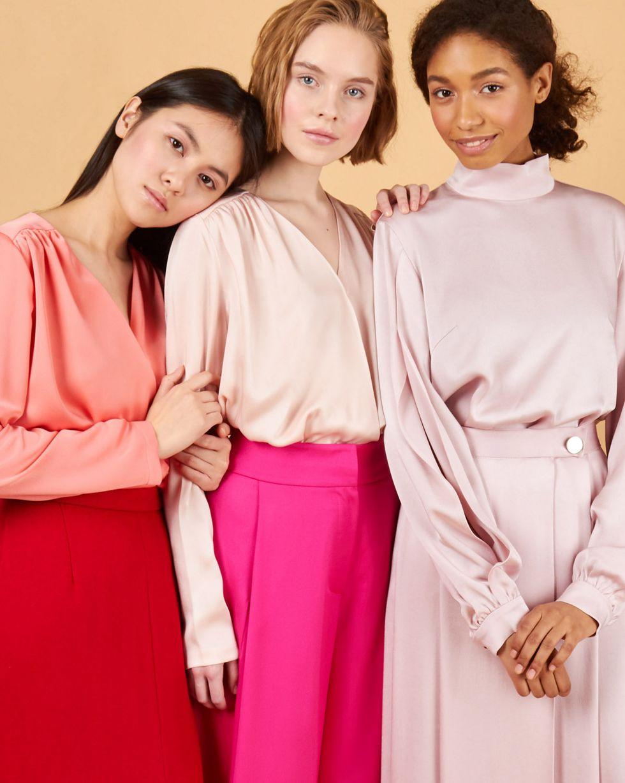 12Storeez Блуза объемная с запахом (светло-розовый) блуза