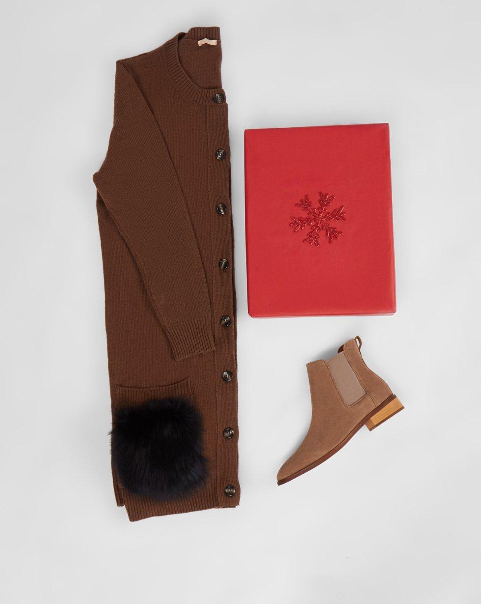 Платье-кардиган с накладными карманами MТрикотаж<br><br><br>Артикул: 8297430<br>Размер: M<br>Цвет: Коричневый<br>Новинка: НЕТ<br>Наименование en: Fur pocket cardigan