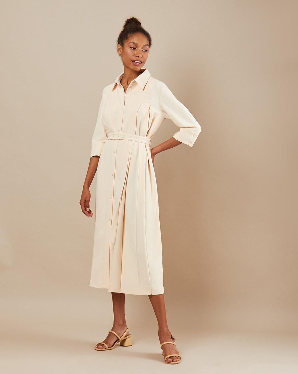 12Storeez Платье миди DR5858/001 (Молочный)