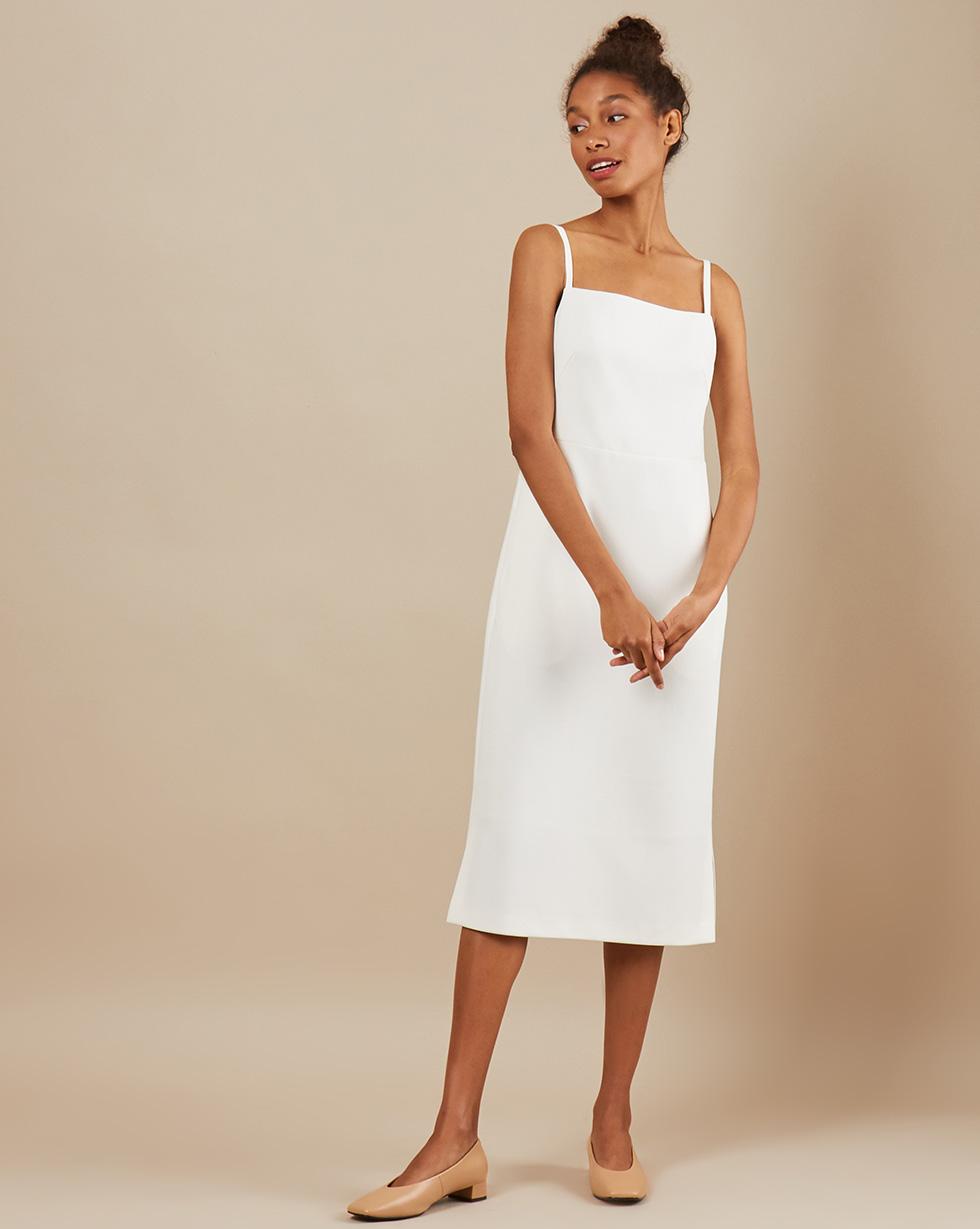 12Storeez Платье миди DR5858-003 (Белый)