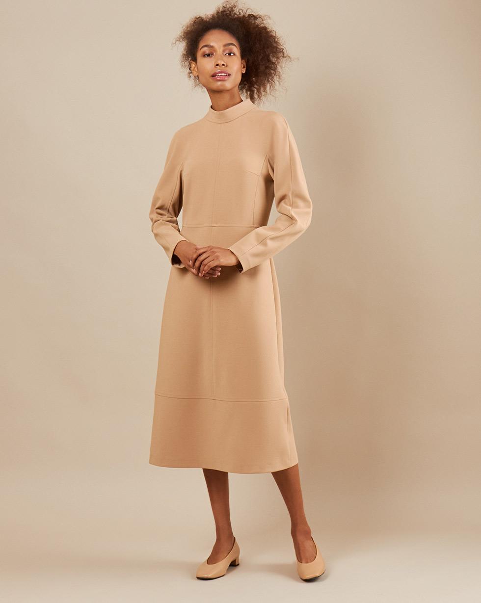 12Storeez Платье миди DR5858-004 (Бежевый)