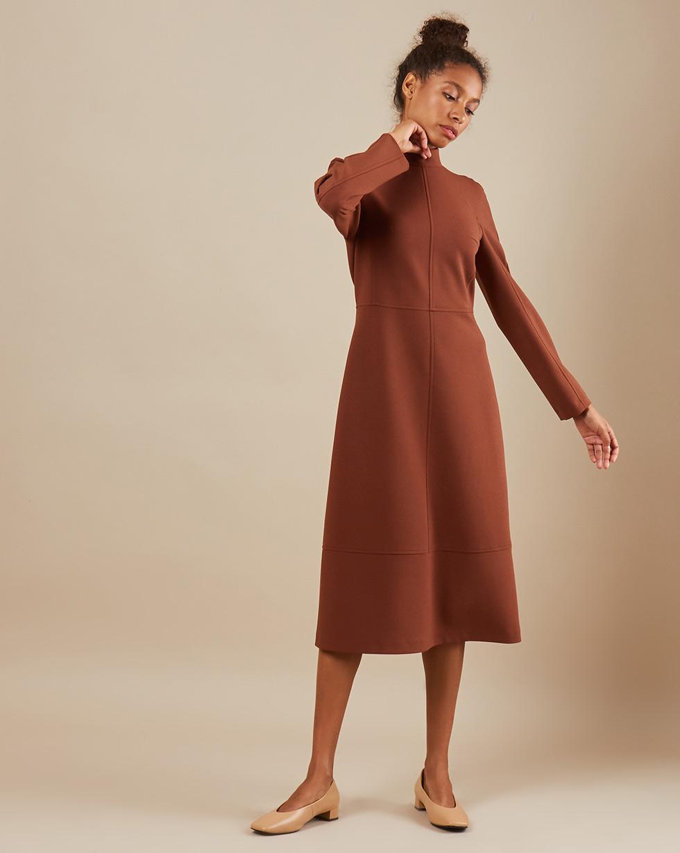 12Storeez Платье миди DR5858-004 (Коричневый)