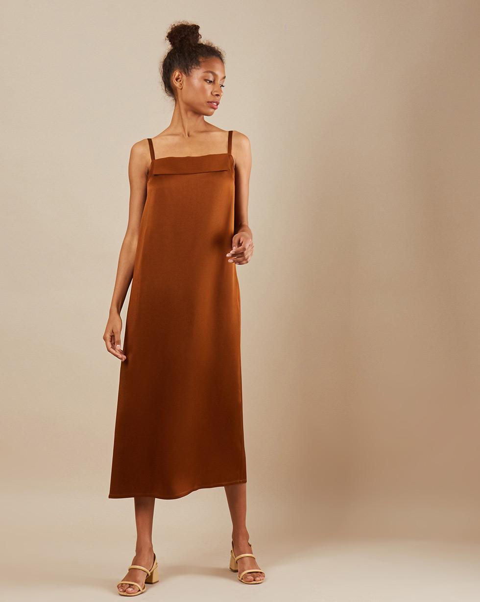 12Storeez Платье макси DR57/049 (Коричневый)
