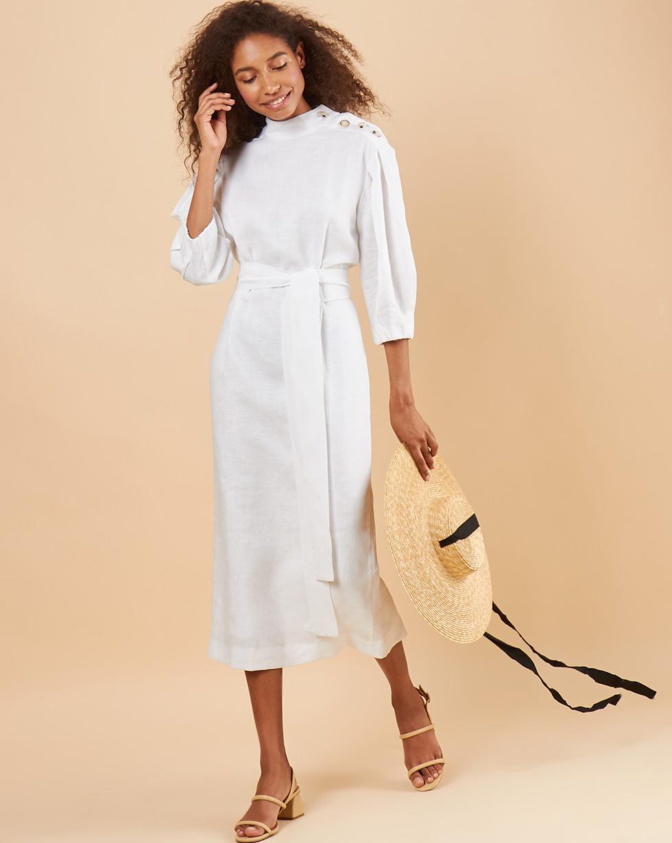 12Storeez Платье миди DR58/006 (Белый)