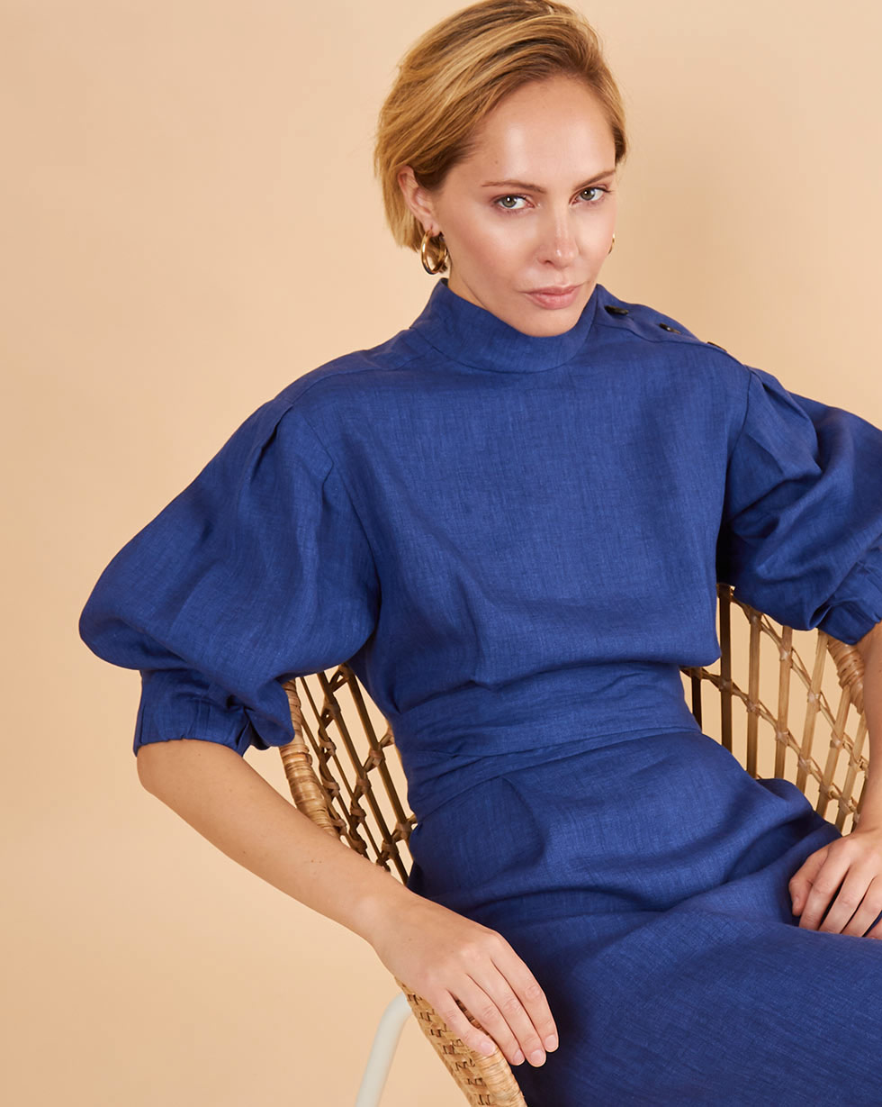 12Storeez Платье миди DR58/006 (Синий)