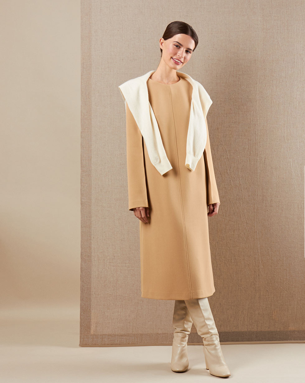 12Storeez Платье миди DR58-007 (Бежевый)