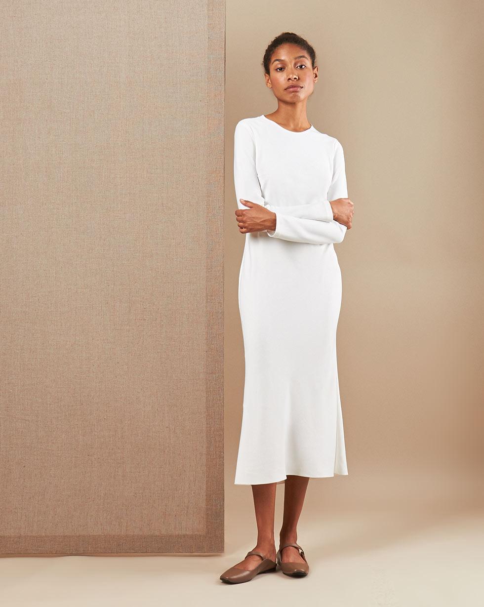 12Storeez Платье миди DR58/010 (Молочный)