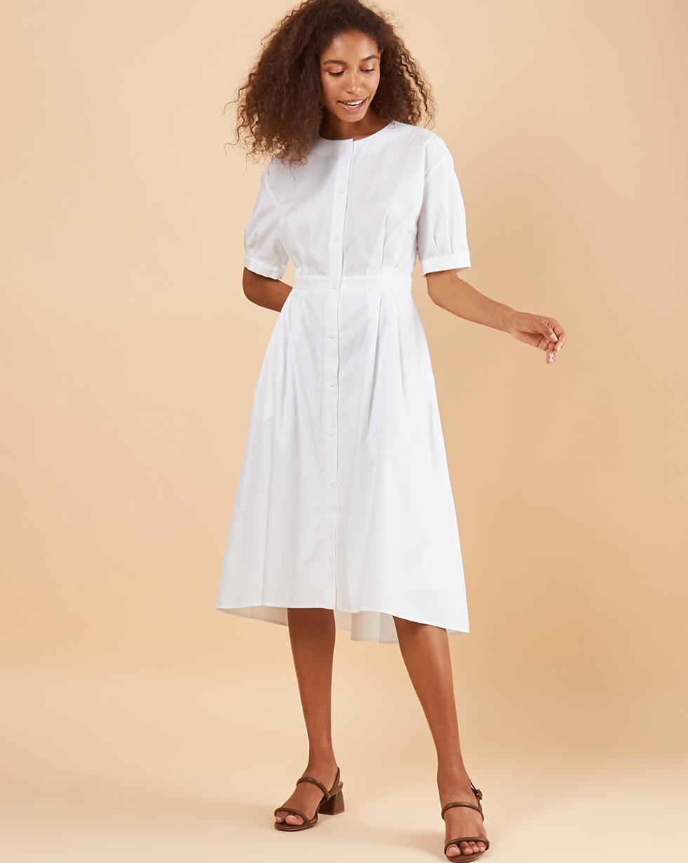 12Storeez Платье миди DR58-015 (Белый)