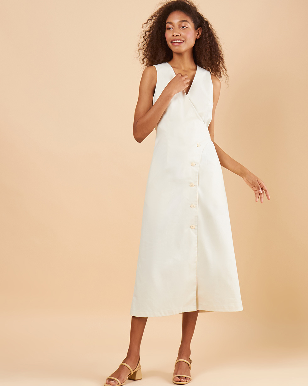 12Storeez Платье миди DR58/016 (Молочный) 12storeez платье комбинация миди изо льна молочный