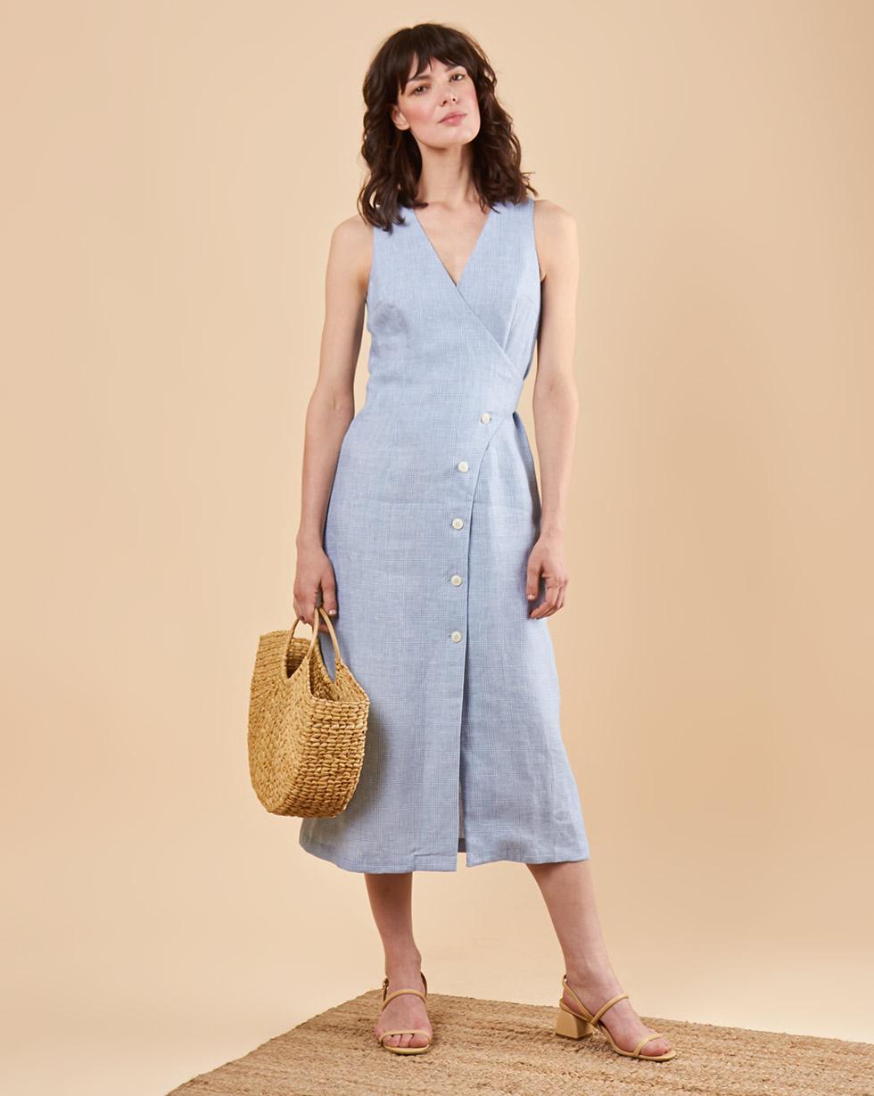 12Storeez Платье миди DR58/016 (Голубой) 12storeez платье миди на поясе с карманами серо голубой