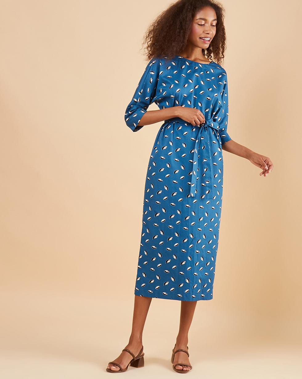 12Storeez Платье миди DR58/017 (Синий) платье миди рукав 3 4 синий