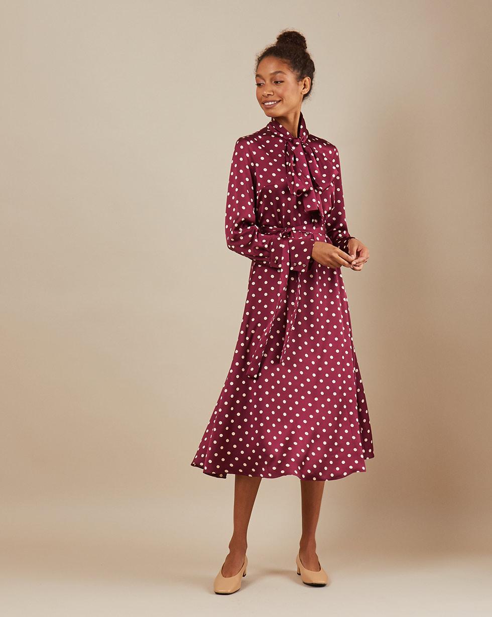 12Storeez Платье миди DR58/018 (Бордовый)