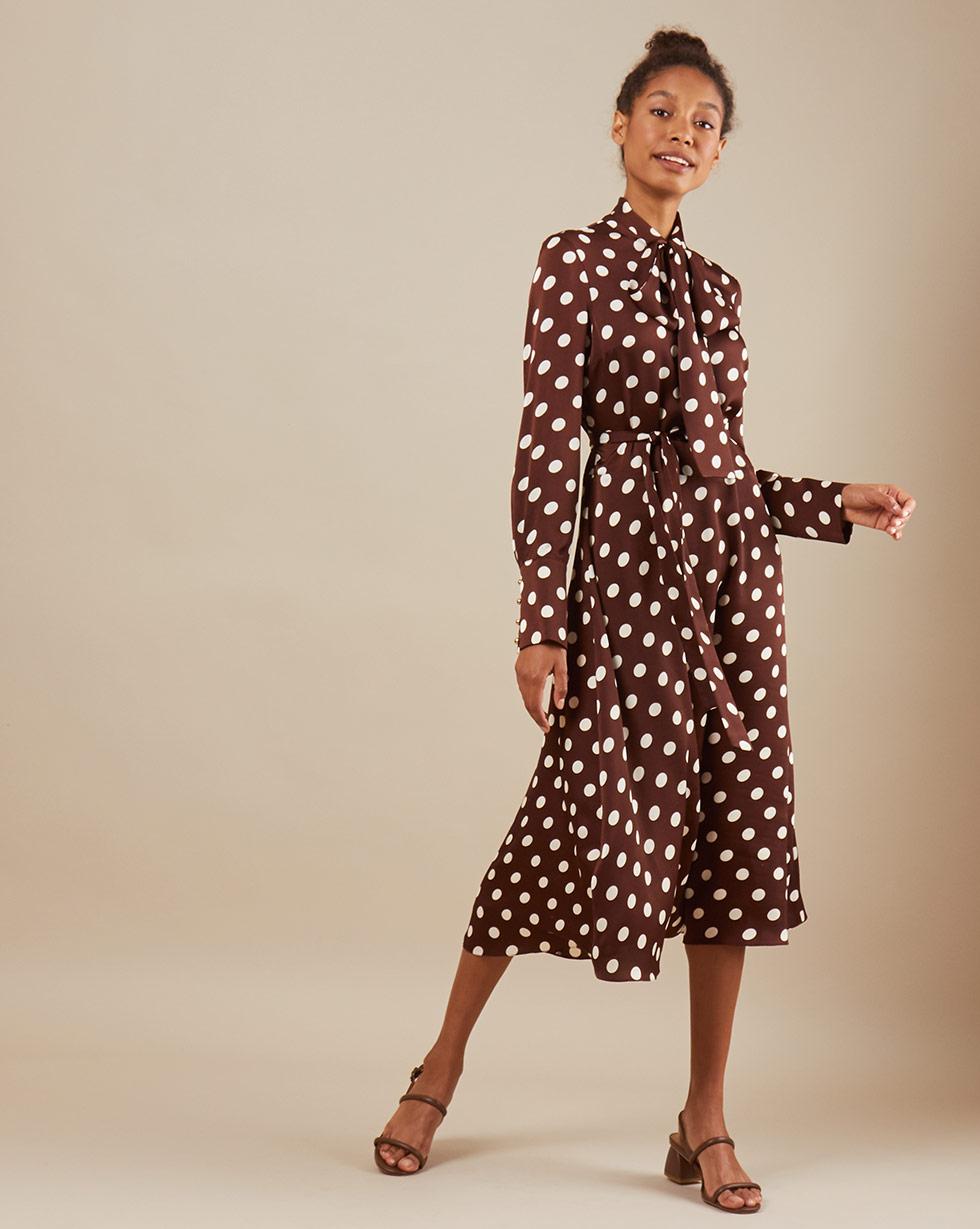 12Storeez Платье миди DR58/018 (Коричневый)