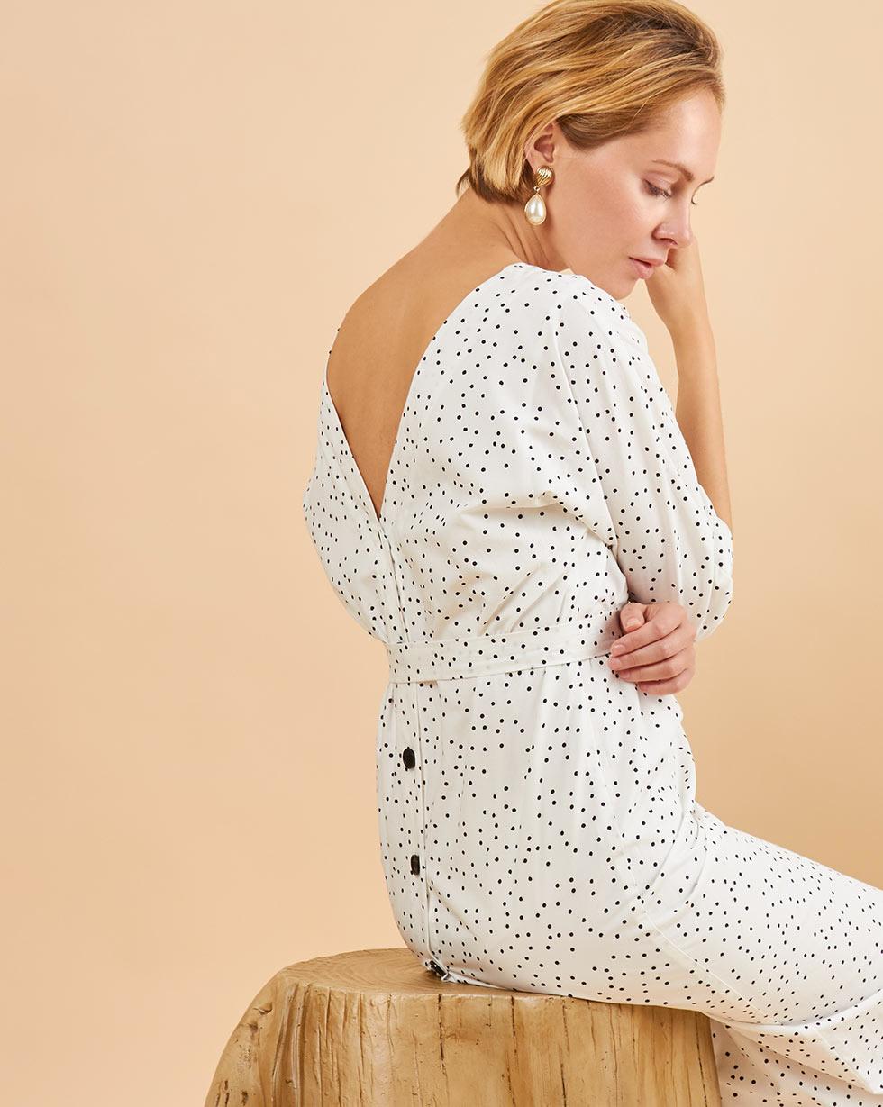 12Storeez Платье миди с вырезом и пуговицами сзади (чёрный горох на белом)