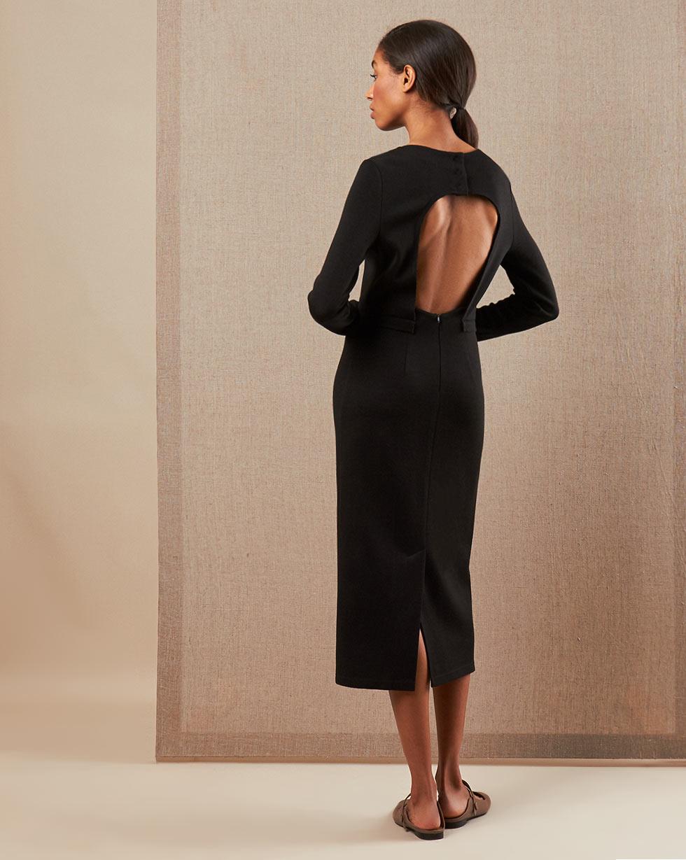 12Storeez Платье миди DR58-009 (Черный)