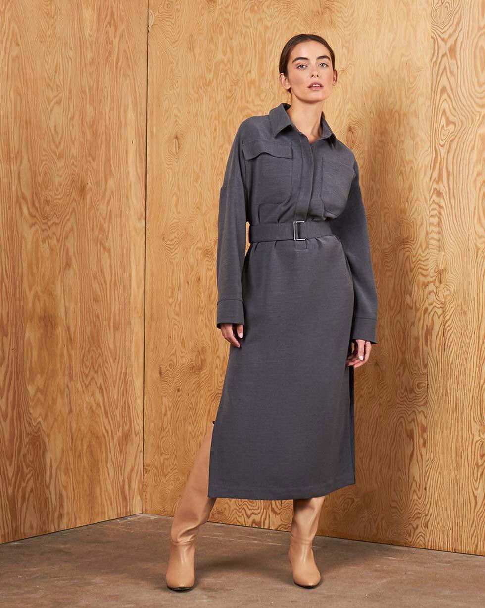 12Storeez Платье прямое с накладными карманами и поясом (Темно-серый) все цены