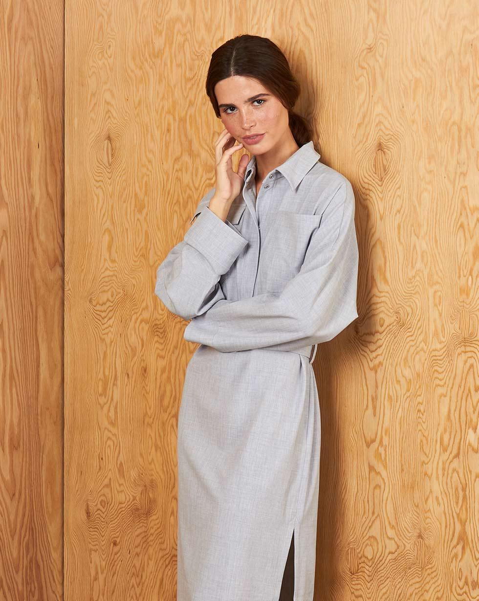 12Storeez Платье прямое с накладными карманами и поясом (Светло-серый) все цены