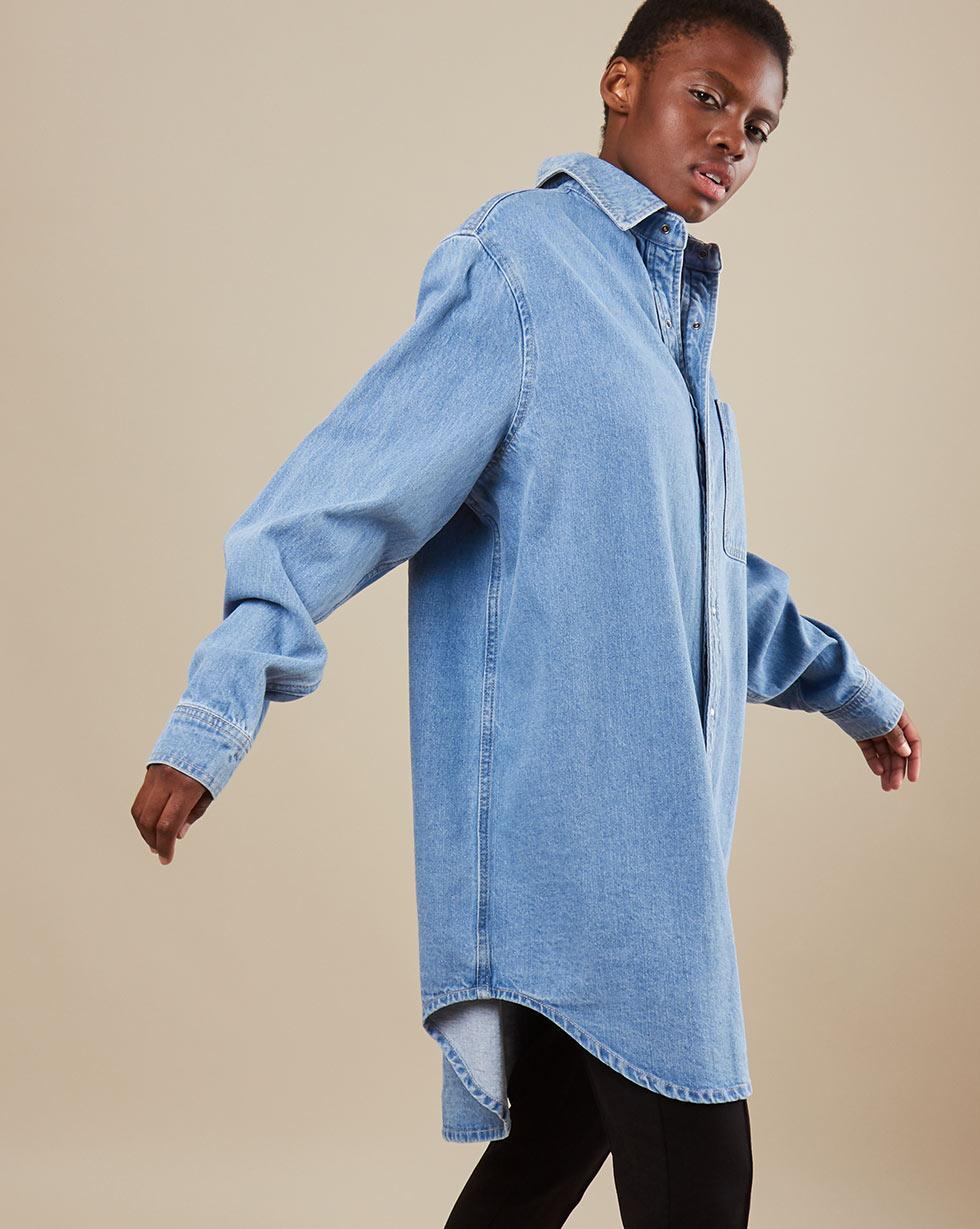 12Storeez Платье миди из денима D27-001 (Голубой)