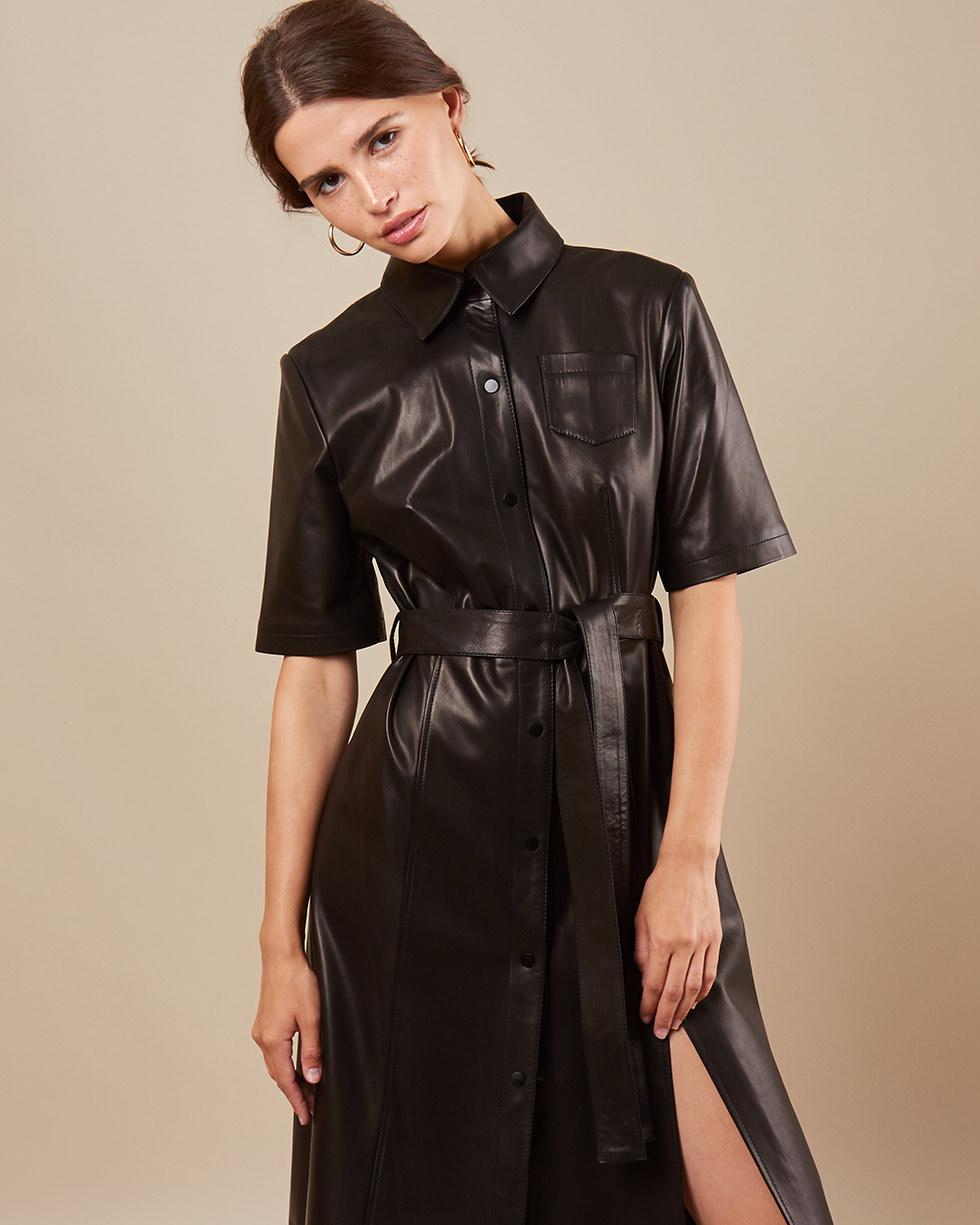 12Storeez Платье миди из кожи L43-002 (Черный)