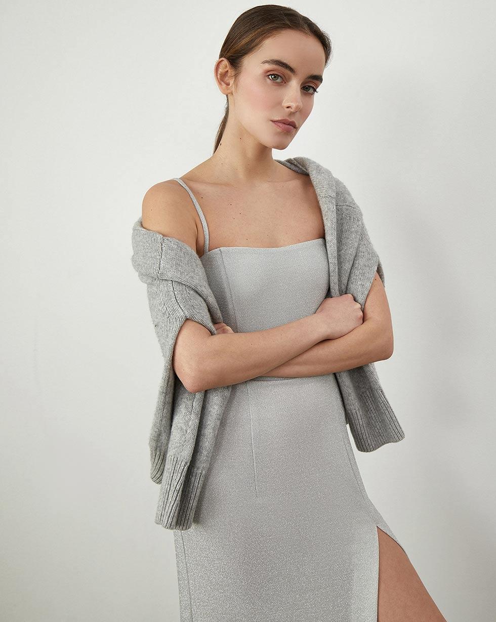 12Storeez Платье с высоким разрезом (Бежевый)